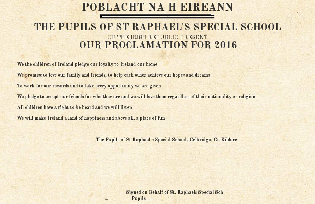 Proclamation by St. Raphaels Special Sch